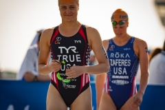 ABU DHABI, UAE (MARCH 5, 2016) -- Sarah True and Katie Zaferes head to the swim start at the season opening race for the 2016 ITU World Triathlon Series.